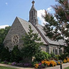 Weddings at Memorial Chapel. The Gothic architecture, tall stained glass windows and beautiful stone walls offer a spectacular backdrop for flowers and greenery from every season and time of day. www.lakejunaluska.com/weddings