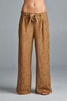 Gorgeous in Swiss Lace, Comfy Fully Lined Pants with Elastic Waist and side pocket. One Size.