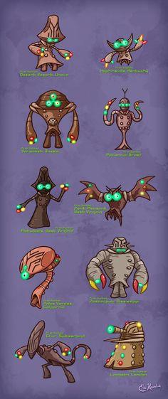 Classic UFOlogy creatures, reimagined as Pokemon.