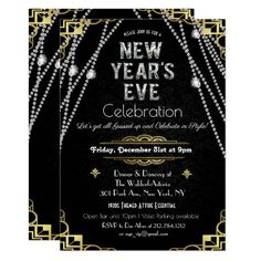 Art Deco New Years Eve Invitation New Years Eve Invitations, Gold Invitations, Elegant Invitations, Custom Invitations, New Year Holidays, Holidays And Events, New Year's Eve Celebrations, Company Picnic, Hannukah