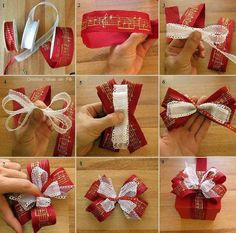 22 Creative Christmas Wrapping & Packaging Ideas: DIY Christmas Present Bow Tutorial Christmas Present Bow, Diy Christmas Presents, Christmas Bows, Christmas Gift Wrapping, Holiday Crafts, Christmas Ideas, Cheap Christmas, Bows For Presents, How To Tie A Christmas Bow