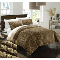 Chic Home 7 Piece Caimani NEW Faux FUR Collection! With Mink like backing in Caimani Animal Skin Design Queen Comforter Set Gold With White Sheets included