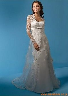 Satin Strapeless Neckline in Chapel Train Matching Long Sleeve Applique Net with Semi-cathedral Train Design 2011 Hot Sell Wedding Dress WA-0091