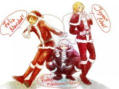 get ready for christmas bad touch trio! - - - [COMING SOON] - - - Merry Christmas Everybody, Bad Touch Trio, Hetalia Funny, Bad Friends, Hetalia Axis Powers, Phineas And Ferb, Wattpad, 19 Days, I Love To Laugh