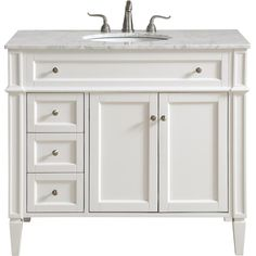 """Park Avenue Single Bathroom Vanity Set in White - Elegant Lighting classic, contemporary marble top vanity console from our """"Park Avenue"""" collection is roomy enough to keep all your bath essentials close at hand. Fitted with a spacious I Bathroom Vanities For Sale, Double Sink Bathroom, Single Bathroom Vanity, Double Sinks, Master Bathrooms, Downstairs Bathroom, Vanity Cabinet, Vanity Sink, Counter Top Edges"""