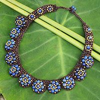 Lapis lazuli beaded necklace, 'Daisy Melody' - Handcrafted Gemstone Beaded Necklage from Thailand