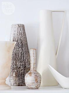Layered white vases {PHOTO: Stacey Brandford}