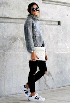 Look by @chicisimo with #sneakers #adidas #jeans #black #streetstyle #sweaters #clutches.
