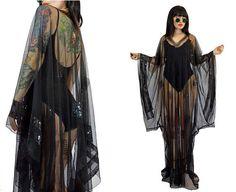 vintage 80s 90s sheer black mesh kimono maxi dress SEQUIN glam