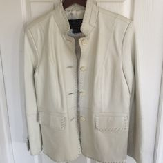 Terry Lewis genuine leather jacket Terry Lewis Classic Luxuries white genuine leather jacket 👑 Bought it for my mom, but it didn't fit 😕 My loss, your gain! 😘 beautiful quality; fully lined Terry Lewis Jackets & Coats