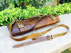 Cuero brillante Vintage marrón cuchillo Roll Chef cuchillo