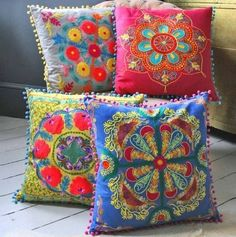 Bright embroidered cushions