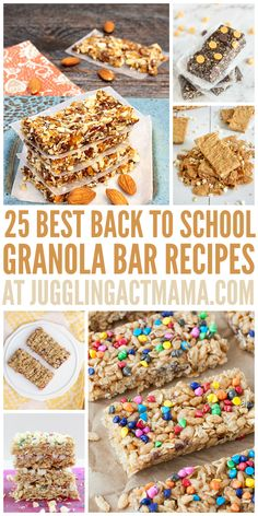 25 Best Back to School Granola Bar Recipes Need some lunch box inspiration? Check out these Granola Bar Recipes and start thinking back to school! Lunch Snacks, Easy Snacks, School Snacks, Lunch Box, Healthy Snack Bars, Kid Snacks, Protein Snacks, Healthy Breakfasts, Protein Bars