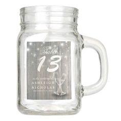 Wedding Table Number Champagne Glasses Wood Lights Mason Jar