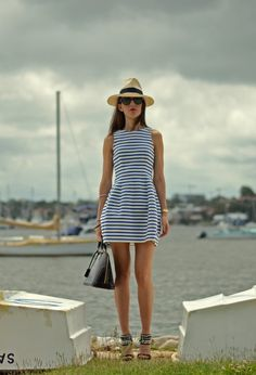 Striped dress  #fashion #style #outfit  #look , zara en Vestidos, Louis Vuitton en Bolsos
