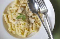 Chicken Alfredo Campanelle - A light cream and butter sauce with sautéed chicken and campanelle pasta.  Less calories but doesn't sacrifice the taste.  Use a spoon to scoop all the sauce.