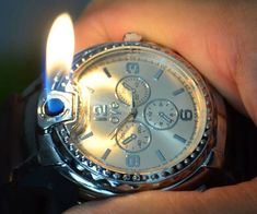 Rid yourself of those pesky arm hairs around your wrist when you begin rocking the lighter watch. This fully functional and flashy timepiece incorporates a useful butane lighter into the watch's face so you always have a light when you need it.