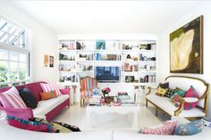 love a bright sofa in a white room! Built In Bookcase, Bookshelves, Living Room Inspiration, Handmade Home, Cool Rooms, Quality Furniture, White Walls, White Wood, Colorful Interiors
