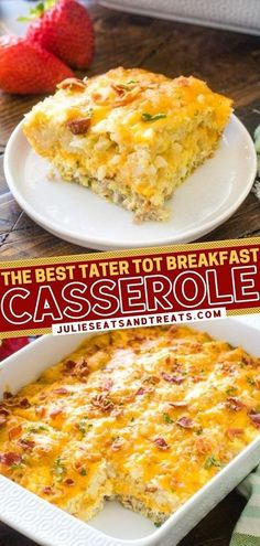 Get ready for stick-to-your-ribs deliciousness! This quick and easy recipe for Tater Tot Casserole is the BEST. Prep it the night before and bake it the next morning for the perfect Christmas� More Tater Tot Breakfast Casserole, Breakfast Dishes, Breakfast Time, Breakfast Recipes, Brunch Recipes, Breakfast Ideas, Yummy Recipes, Quick Easy Meals, Ribs