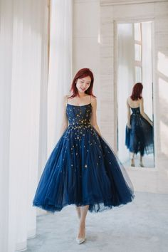 Spaghetti Straps Tulle Homecoming Dresses,Navy Blue Stars Tea Length Prom Party Dresses on Storenvy