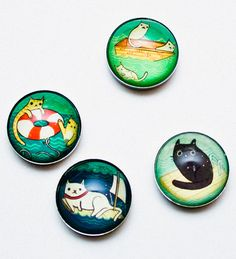 Prepare to squee! Swimming cats magnet set at http://shop.boygirlparty.com #swimming #cat #cuteoverload