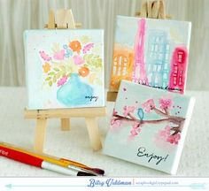 watercolor canvases using rubber stamps