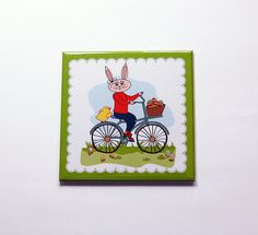 Easter Bunny Magnet, Easter magnet, Easter Bunny, Magnet, Fridge magnet, Easter, Easter Rabbit, Easter gift, bunny on bike (7176) by KellysMagnets on Etsy