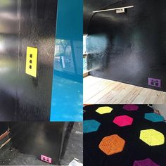 This is how we're combating all the black. Bright bursts of six colours (purple, lime, yellow, teal, pink and orange). The bathroom door is bright teal and the light switch for the living area/bathroom is bright yellow. The power points in the kitchen are purple which matches the appliances (also purple). Pink power points in the side of the coach for charging devices and the blanket I'm crocheting brings all the colours together. #bedfordbus #housebus #bus #busconversion #tinyhouse