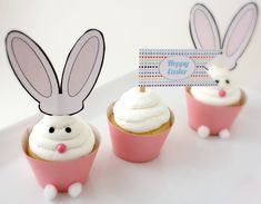 Super CUTE! Free Cupcake Bunny Printables over @30 Days. Way to go ladies!