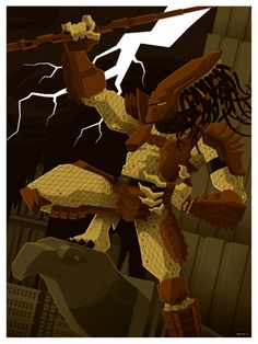 Predator. Beautiful Modern Vintage Illustration by Tom Whalen