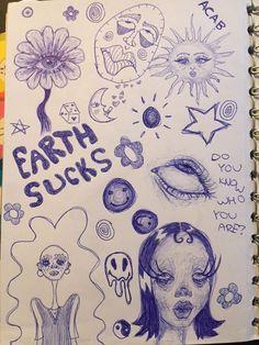 Arte Indie, Indie Art, Cool Art Drawings, Art Drawings Sketches, Trippy Drawings, Indie Drawings, Drawing Ideas, Pretty Art, Cute Art