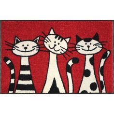 Wash Dry 030812 Door Mat 50 x 75 cm with Three Cats Motif | eBay