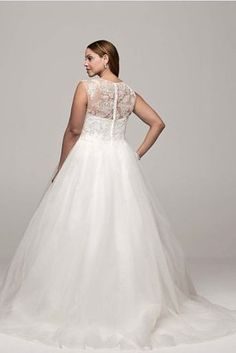 Cap Sleeve Tulle Ball Gown with Illusion Neckline, David's Bridal | 31 Jaw-Dropping Plus-Size Wedding Dresses