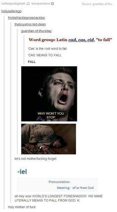 Castiel. Cas. To fall from God. Supernatural. Misha Collins.