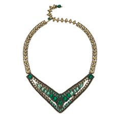 #Statement V-Collar #Necklace by Chloe + Isabel. This dramatic statement-maker features multi-shaped #emerald + golden shadow Swarovksi crystals, and a unique hook and rhinestone link closure.  Can you believe this is only $88?! www.chloeandisabelseattle.com