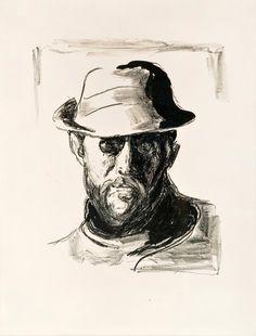 """huariqueje: """" Portrait of Hans Jaeger - Edvard Munch Norwegian, 1863-1944 Lithograph, 37x32 cm. """""""