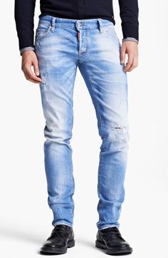 $495, Light Blue Ripped Jeans: Dsquared2 Slim Fit Jeans. Sold by Nordstrom. Click for more info: https://lookastic.com/men/shop_items/110618/redirect