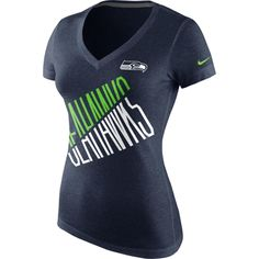 Nike Seattle Seahawks Ladies Faster Tri-Blend V-Neck T-Shirt - College Navy