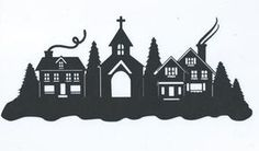 christmas town silhouette - Google Search