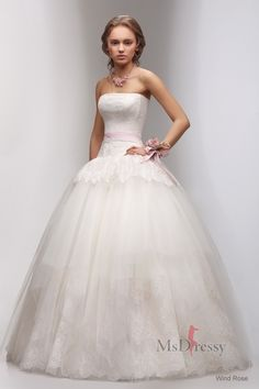 Ball Gown Strapless Sweep Train Tulle Wedding Dress with Lace