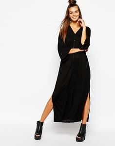 Monki Button Front Midi Dress with Side Split