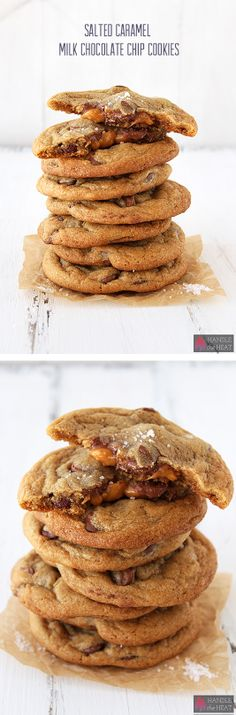 Salted Caramel Milk Chocolate Chip Cookies - You GOTTA make these! Can you Handle the Heat… Salted Caramel Milk Chocolate Chip Cookies! Best Cookie Recipes, Sweet Recipes, Baking Recipes, Dessert Recipes, Milk Chocolate Chip Cookies, Chocolate Chips, Caramel Cookies, Delicious Desserts, Yummy Food
