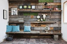 holtum 30097x 600x400 Wall decoration made from pallet sides in home decor floor wall roof  with Wallshelves storagen pallet original logos genbyg.dk genbyg design