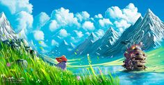 Want to discover art related to miyazaki? Check out inspiring examples of miyazaki artwork on DeviantArt, and get inspired by our community of talented artists. Castle In The Sky, Hayao Miyazaki, Totoro, Landscape Illustration, Illustration Art, Howls Moving Castle Wallpaper, Ghibli Movies, Canvas Prints, Art Prints