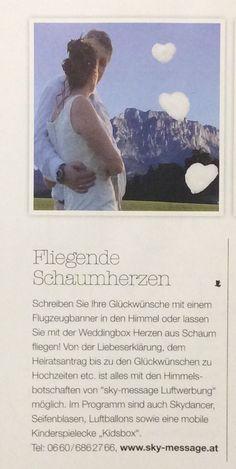 """Beitrag über unsere fliegende n Schaumherzen und mobile Kinderspielecke """"kidsbox"""" in der Zeitschrift Braut Oberösterreich!"""