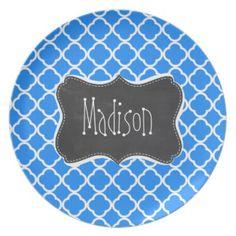 Azure Blue Quatrefoil; Retro Chalkboard Dinner Plate
