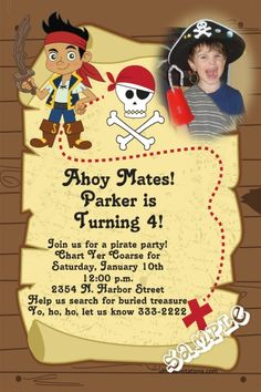 Jake and the NeverLand Pirates Birthday Invitations    Get these invitations RIGHT NOW. Design yourself online, download and print IMMEDIATELY! Or choose my printing services.   No software download is required. Free to try!