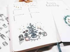 "studywithinspo: ""Before I fill this spread in, I wanted to share that I'm still making artsy bullet journal creations. I haven't been as active as before, but hopefully during winter break you'll see many more posts. The wreath drawing is inspired by..."
