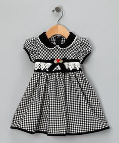 Take a look at this Black & White Gingham Bow Dress - Infant by Gerson & Gerson on #zulily today!