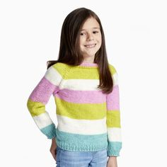 Bernat Super Value Big Stripes Top Down Knit Pullover Creative Knitting, Knitting For Kids, Easy Knitting, Crochet For Kids, Jumper Knitting Pattern, Knitting Patterns Free, Knit Patterns, Free Pattern, Quick Knits